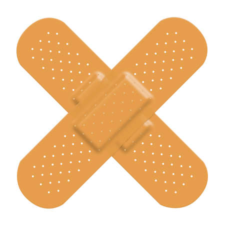 adhesive bandage: Adhesive bandage plaster cross to represent damage or pain and a solution. Isolated on a white background with clipping path.