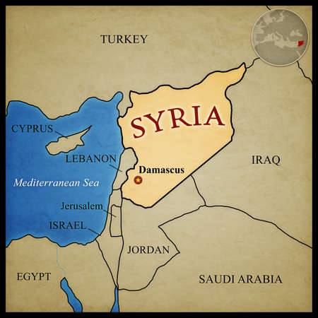 bordering: Syria map and bordering countries with capital Damascus marked. With location in the middle east. Stock Photo