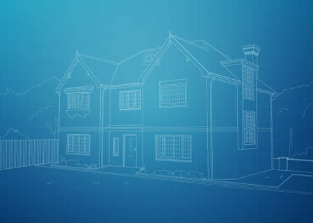 large house: Modern house blueprint. White outline of home on a blue background grid.