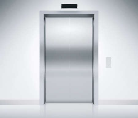 Modern elevator or lift doors made of metal closed in building with lighting.