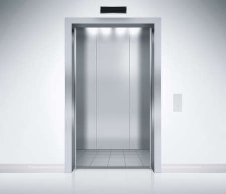 An empty modern elevator or lift with metal doors that are open in building with lighting.