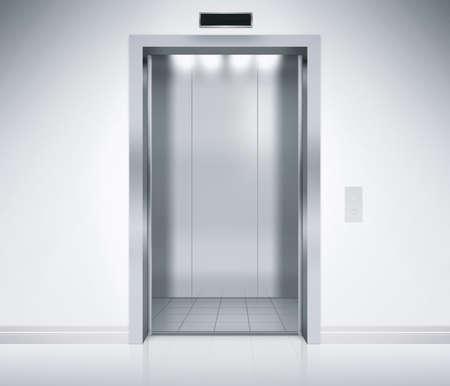 puerta: Un moderno ascensor vac�o o ascensor con puertas de metal que est�n abiertos en la construcci�n con la iluminaci�n. Foto de archivo