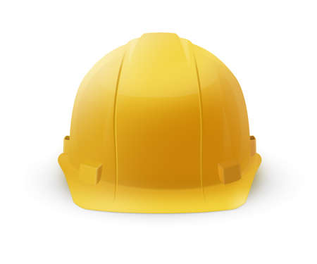 helmet construction: Yellow hard plastic helmet icon isolated on a white background. To represent safety or construction.