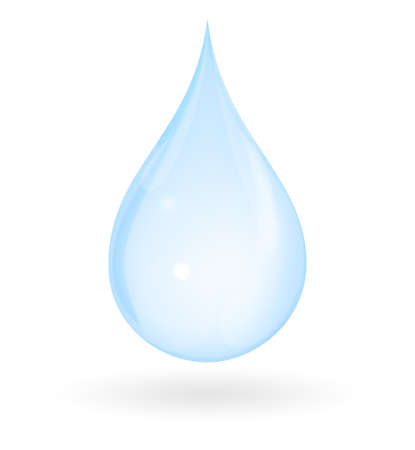 single: Blue drop of water with shadow isolated on a white background. Represents pure, fresh, natural and innocent.