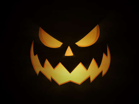 Halloween night, scary and evil Jack O Lantern pumpkin with glowing eyes and light coming from within. With light beams and spooky fog