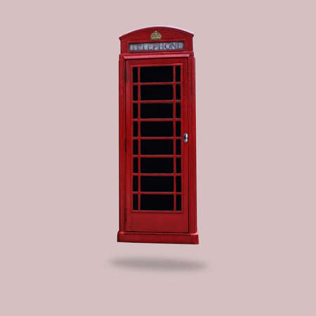 Flying British Red Telephone Box Minimal Style Concept Of Communication, Travel, Technology Stock Photo