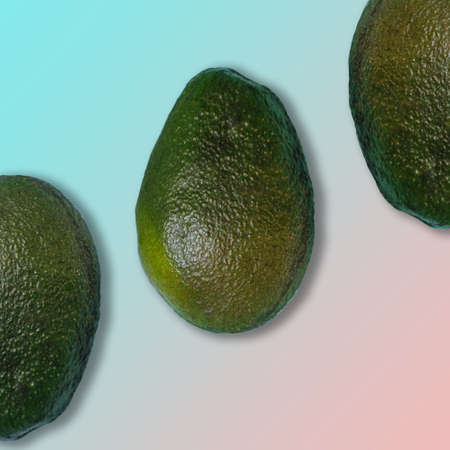 Avocado On Pastel Gradient Blue And Pink Background Minimal Creative Idea. Space For A Text, Flat Lay, Top View