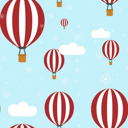 Vector seamless pattern with red air balloons, clouds and snow, blue background. Christmas And New Year's winter texture for fabric, wrapping, textile, wallpaper, apparel. Illustration