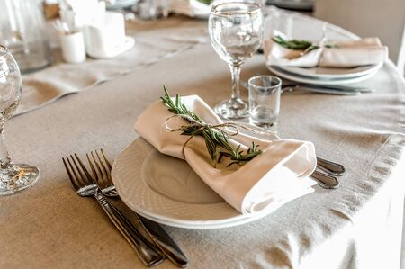 grunge silverware: rosemary as a detail of decoration,