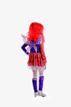 periwig: young girl in colorful as winx carnival costume, red periwig peruke