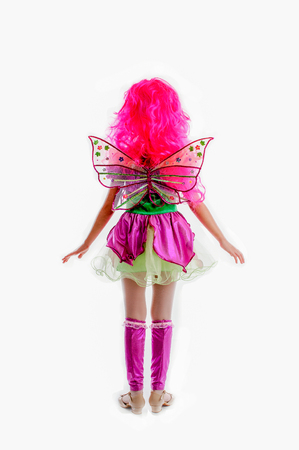 periwig: young girl in colorful as winx carnival costume, pink periwig peruke