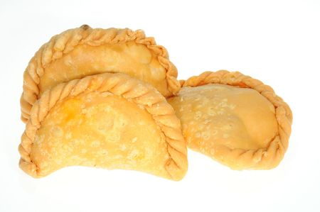 Three Curry Puffs On White Background Stock Photo - 7123196