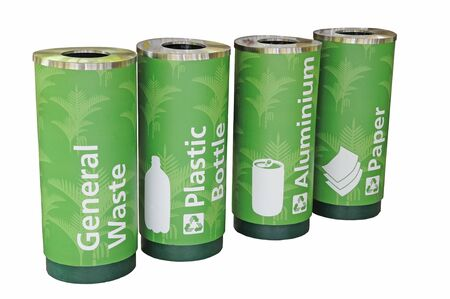 degradable: Green Recycle Bins For  Disposal Of Different Materials