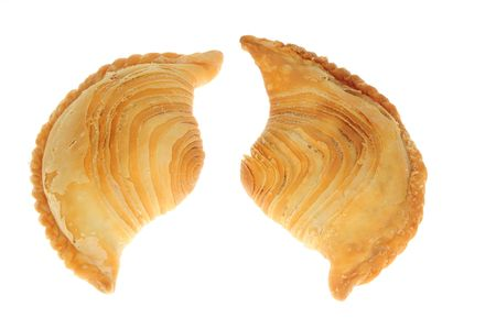 Two Curry Puffs On White Background Stock Photo - 7212226
