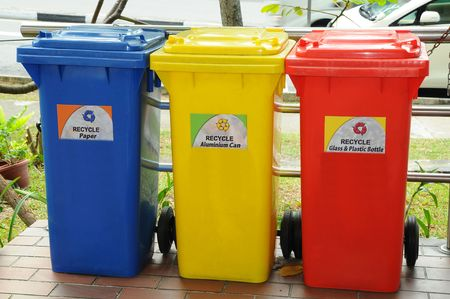 degradable: Colorful Recycle Bins Stock Photo