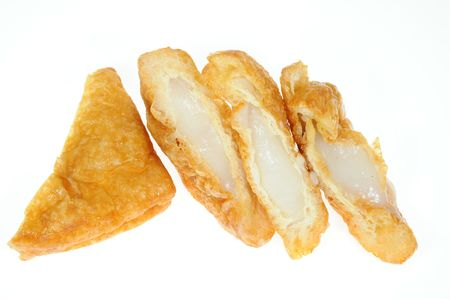 Fried Tofu Beancurd With Fish Meat Filling Stock Photo - 8050659