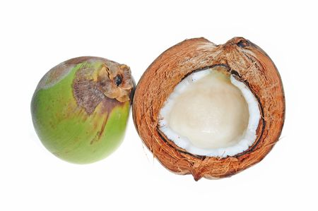 copra: Green And Ripe Coconuts On White Background