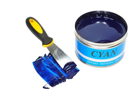 A Can Of Cyan Color Offset Printing ink Stock Photo - 8259655