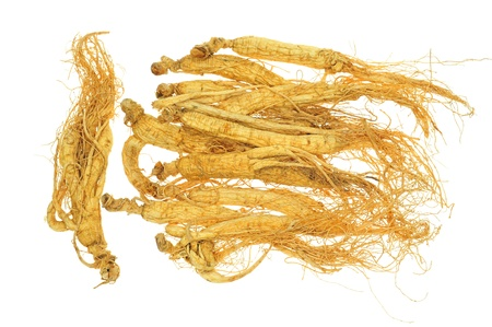 Dried Ginseng On White background