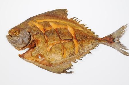 Deep Fried Pomfret Fish Stock Photo