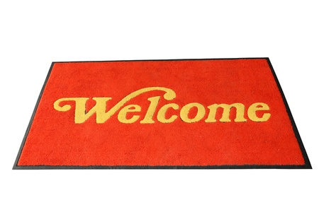 welcome mat: Red Welcome Mat Isolated On White