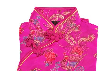 結び目: シルク生地とボタンを持つ伝統的なチャイナ ドレス