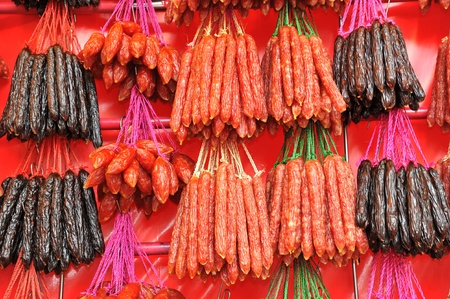 Chinese Sausages For Sale At The Stall Stock Photo - 9057677