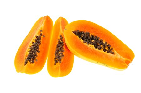 Generous Slices Of Ripe Papaya Showing The Seeds Stock Photo
