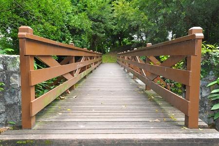 Wooden Pedestrian Bridge in The Park photo