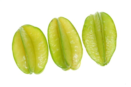 Tropical Star Fruits Isolated On White Background Archivio Fotografico