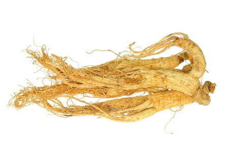 ginseng: Dried Ginseng Roots Isolated On White Background