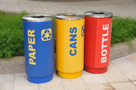 Colorful Waste Bins For Collection Of Recycle Materials