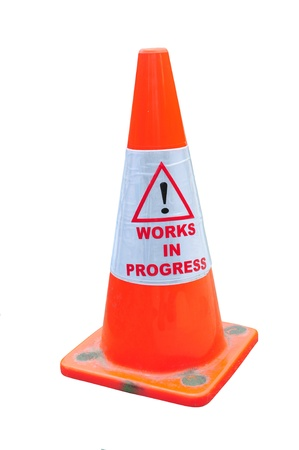 Road Warning Cone With Work In Progress photo
