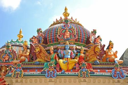 hindu goddess: Hindu God Statues At An Indian Temple Stock Photo