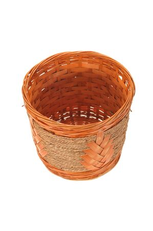 hand woven: Hand Weave Wicker Basket On White Background