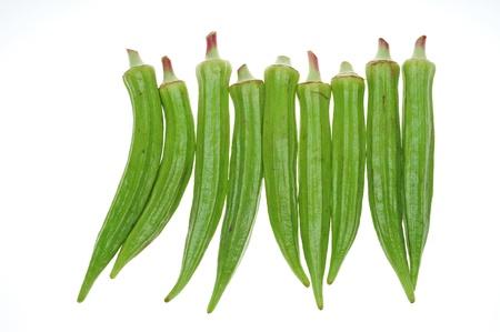 vegetable cook: Lady Fingers, verdura isolato su sfondo bianco Archivio Fotografico