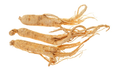 Dried Ginseng Isolated On White Background Stock Photo