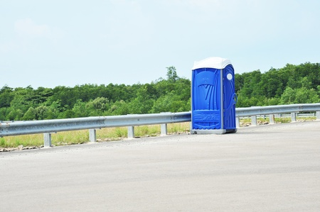 self contained: Portable Toilet At The Road Shoulder