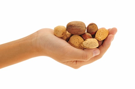 Hand Holding Mix Nuts photo