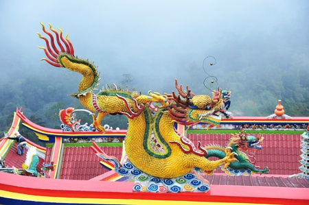 Dragon Statue On The Roof Of Chinese Temple photo