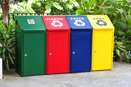 degradable: Different Colored Bins For Collection Of Recycle Materials