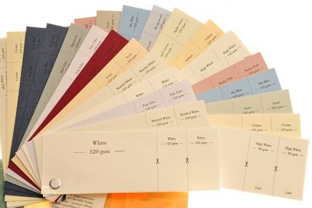 thickness: Colored Samples Of Paper And Card For Printing  Stock Photo