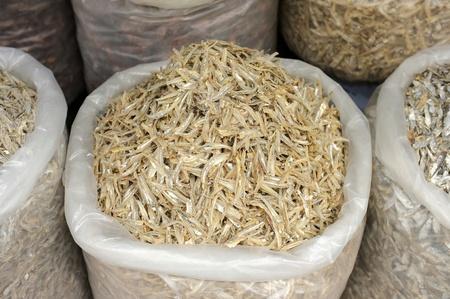 Sacks Of Dried Anchovies For Sale Archivio Fotografico