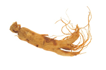 Dried Ginseng Roots Isolated On White Background photo