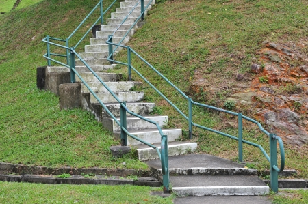 hand rails: Stair Step InThe Park With Hand Rails Stock Photo