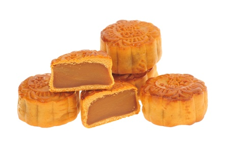 make a paste: Moon Cakes With Cut Section Showing The Filling Stock Photo