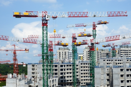 strong foundation: Construction Site With Tower Cranes