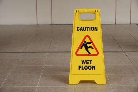 wet floor: Warning Sign Of Wet Floor Stock Photo