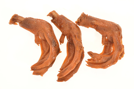 duck feet: Braised Duck Feet Isolated on White Background Stock Photo