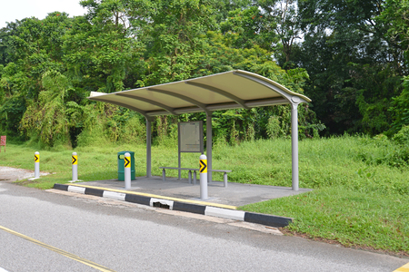 old bus: Old Bus Stop In Singapore Rural Area Stock Photo